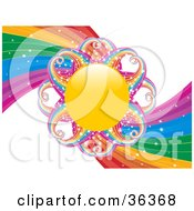 Clipart Illustration Of A Sun With Sparkling Rainbow Rays In The Center Of A Rainbow Swirl