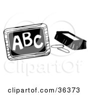 Clipart Illustration Of Chalk And An Eraser Beside A Chalkboard With ABC Written On It by LoopyLand