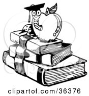 Clipart Illustration Of A Graduate Worm Emerging From An Apple Atop School Books by LoopyLand #COLLC36376-0091