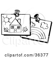 Clipart Illustration Of Two Piece Of Childrens Art Of A House And A Rainbow Tacked Up On A Wall by LoopyLand
