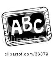 Clipart Illustration Of A Black And White Chalk Board With ABC Written On It by LoopyLand