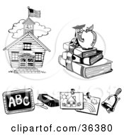 Clipart Illustration Of A School House Book Worm Chalk And Chalkboard Childrens Art And A Bell by LoopyLand