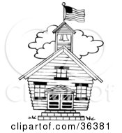 Clipart Illustration Of A Flag Atop The Bell Tower Of A One Room School House by LoopyLand #COLLC36381-0091