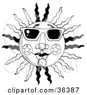 Clip Art Illustration Of A Black And White Summer Sun With Rays And Star Designs Wearing Shades by LoopyLand #COLLC36387-0091