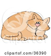 Clipart Illustration Of A Chubby Orange Cat With A Mouse Tail Hanging Out Of His Mouth by djart