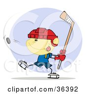 Clipart Illustration Of A Focused Caucasian Boy Preparing To Whack A Hockey Puck by Hit Toon