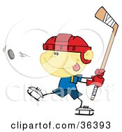 Clipart Illustration Of A Little Boy Preparing To Whack A Hockey Puck by Hit Toon