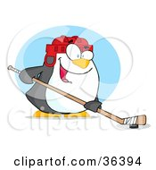 Clipart Illustration Of A Sporty Penguin Playing Ice Hockey by Hit Toon