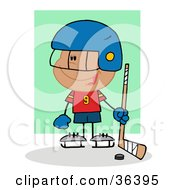 Clipart Illustration Of A Happy Hispanic Hockey Goalie Boy With A Puck And Stick by Hit Toon