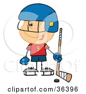 Clipart Illustration Of A Happy Hockey Goalie Boy by Hit Toon