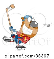 Clipart Illustration Of A Grinning Bear Playing Ice Hockey by Hit Toon