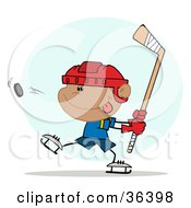 Clipart Illustration Of An Athletic Hispanic Boy Preparing To Whack A Hockey Puck by Hit Toon