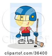 Clipart Illustration Of A Hockey Goalie Caucasian Boy With A Puck And Stick by Hit Toon