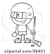 Clipart Illustration Of A Black And White Outline Of A Little Boy Playing A Hockey Goalie by Hit Toon