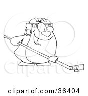 Clipart Illustration Of A Black And White Outline Of A Penguin Playing Ice Hockey by Hit Toon