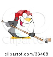 Clipart Illustration Of A Happy Penguin Playing Ice Hockey by Hit Toon