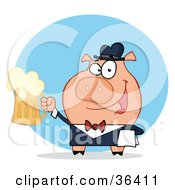 Clipart Illustration Of A Happy Waiter Pig Waiter Holding Up A Mug Of Frothy Beer by Hit Toon