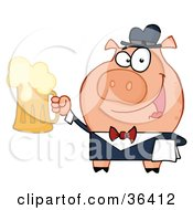 Clipart Illustration Of A Friendly Pig Waiter Serving A Mug Of Frothy Beer by Hit Toon