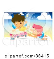 Clipart Illustration Of A Male And Female Angel With A Magic Wand Flying In The Sky