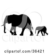 Clipart Illustration Of A Black Silhouetted Baby Elephant Following Behind Its Mother