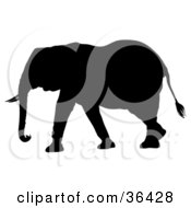 Clipart Illustration Of A Black Silhouetted Adult Elephant Walking Left