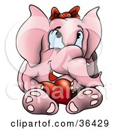 Clipart Illustration Of A Pink Elephant Wearing A Bow And Holding A Red Heart by dero