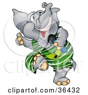 Clipart Illustration Of A Talented Gray Elephant In Green Dancing And Singing In A Microphone by dero