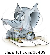 Clipart Illustration Of A Gray Elephant Student Resting His Arms On A Table Over Homework Looking Left While Being Distracted by dero