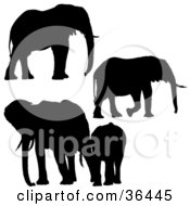 Clipart Illustration Of Four Silhouetted Elephants