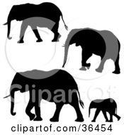 Clipart Illustration Of Four Black Elephant Silhouettes