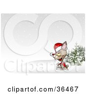 Clipart Illustration Of A Christmas Rabbit On A Hill In The Snow