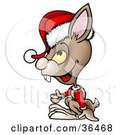 Clipart Illustration Of A Brown Rabbit In A Santa Suit Giving The Thumbs Up