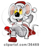 Clipart Illustration Of A Christmas Mouse In A Santa Suit Leaning Back And Daydreaming