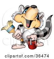 Clipart Illustration Of A Raccoon Painter Carrying A Brush And Bucket by dero