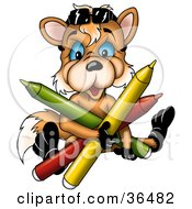 Clipart Illustration Of A Cute Orange Fox With Blue Eyes Holding Colorful Markers