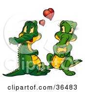 Clipart Illustration Of A Sweet Crocodile Couple In Love With Red Hearts Above Them by dero
