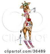 Clipart Illustration Of A Professional Skiing Giraffe by dero