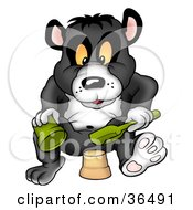 Clipart Illustration Of A Giant Panda Making A Mud Pie With A Pail And Shovel by dero