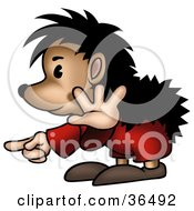 Clipart Illustration Of A Hedgehog Signaling To Stop Pointing Forward by dero