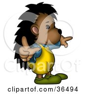 Clipart Illustration Of A Hedgehog In Clothes Pointing In Different Directions by dero