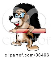 Clipart Illustration Of A Hedgehog Carrying A Red Colored Pencil Under His Arm