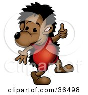 Clipart Illustration Of A Hedgehog Dressed In Red Giving The Thumbs Up by dero