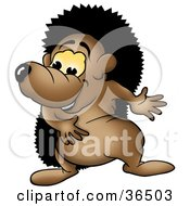 Clipart Illustration Of A Happy Hedgehog Swaying His Arms by dero