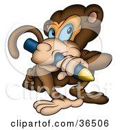 Creative Brown Monkey Biting A Yellow Crayon
