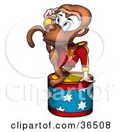 Clipart Illustration Of A Circus Monkey Saluting Atop A Stool