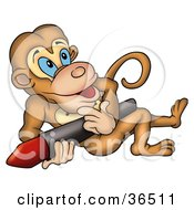 Clipart Illustration Of A Creative Brown Monkey Leaning Back With A Red Crayon by dero