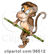Clipart Illustration Of A Circus Monkey Holding Onto A Green Pole While Walking The Tight Rope
