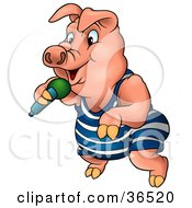 Clipart Illustration Of A Pink Pig In Clothes Dancing And Singing With A Microphone