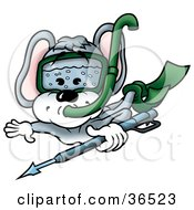 Clipart Illustration Of A Swimming Mouse Scuba Diving Underwater by dero