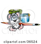 Clipart Illustration Of A Mouse Artist Relaxing Against A Paintbrush And Cans